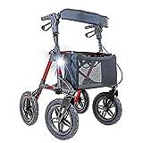Andador Crosser de aluminio con ruedas neumáticas perfecto para terrenos y actividades al aire libre.