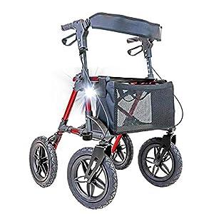 immagine di Deambulatore in Alluminio Crosser con ruote Pneumatiche perfetto per terreni e attività all'aperto.