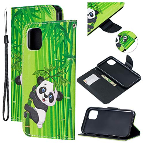 Tom's Village Colorful Printed Wallet Case for iPhone 11 PU Leather Magnetic Flip Cover Shockproof Flexible Soft TPU Ultra Slim Protective Bumper ID/Credit Card Slots Kickstand Lanyard Panda