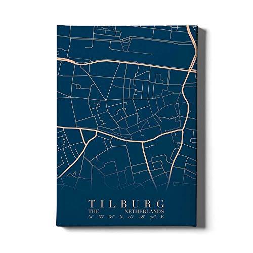 Stadskaart Tilburg Centrum VI - Walljar - Muurdecoratie - Schilderij - Canvas
