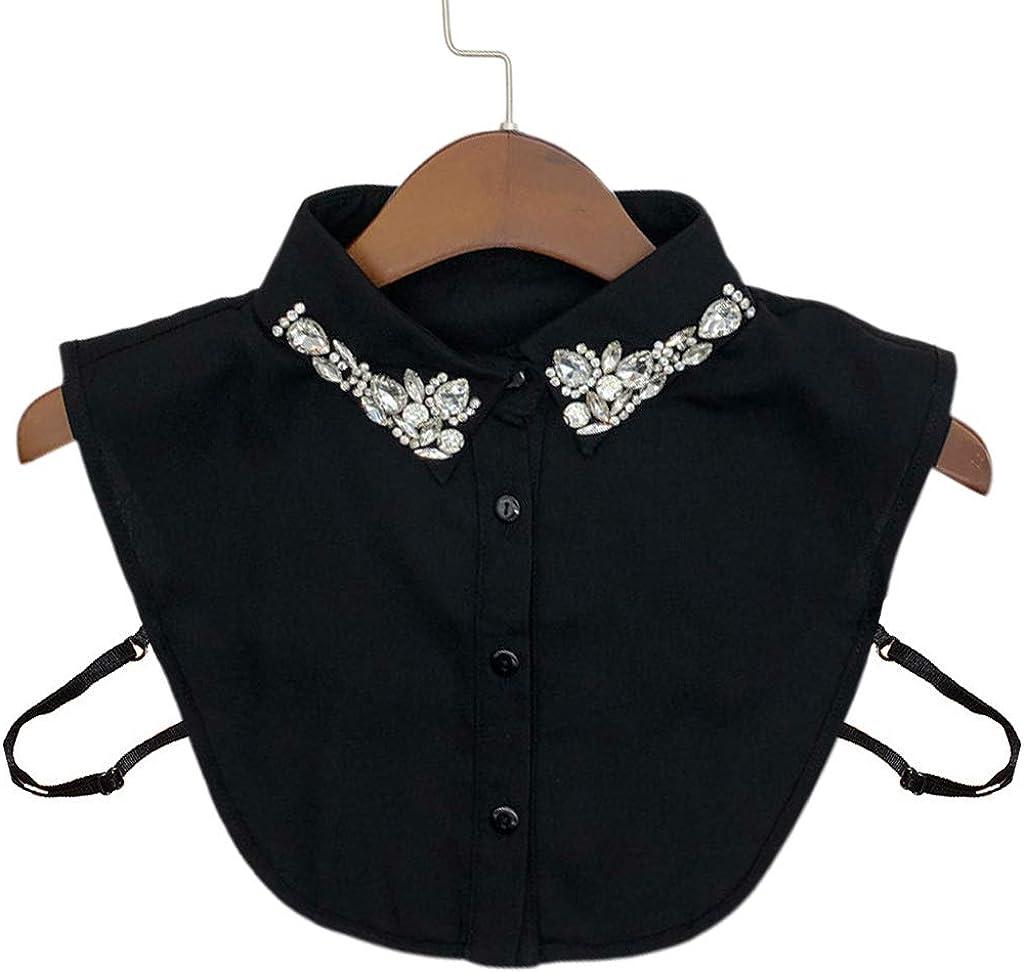 YOUSIKE Neck Chain, Ladies Women Water Drop Imitation Crystal Chiffon Fake Collars Jewelry Rhinestone Lapel Detachable Button Down Half-Shirt Blouse