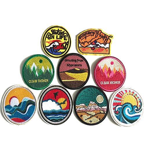 9 Piezas Parches Bordados, Patch Sticker, Ropa Parches Redondo, para Pegatinas de Tela Bordadas para Ropa, Mochilas, Cajas, Sombreros