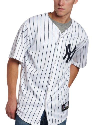 Majestic Herren New York Yankees Cooperstown Collection Replica Baseball-Trikot, Nadelstreifen, Blau, Herren Unisex, Weiß/Blaue Nadelstreifen, Small