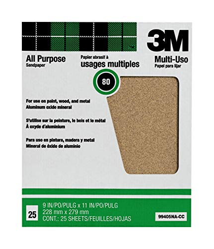 3M Pro-Pak Aluminum Oxide Sanding Sheets for Paint and Rust Removal, 80-Grit, 9-in by 11-in, 25 sheets per pack (99405NA)