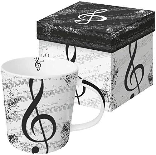 CasaJame Cocina Cubertería Vajilla Taza Grande Café Americano Té de Hierbas Motivo Pentagrama Musical Blanco Negro