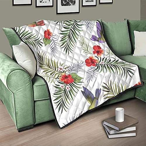 AXGM Colcha con diseño de flores tropicales, hojas de palma, pájaros, hibisco, manta suave y cálida, viaje, camping, color blanco, 130 x 150 cm