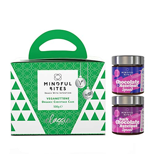 Organic Vegan Panettone and Chocolate Spread Gift Box, Classic Flavour, Vegan Gift, Palm Oil Free, Panettone and 2 Vegan Chocolate Spreads