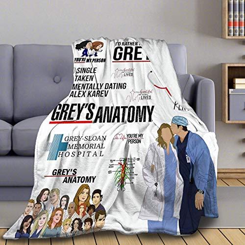 Greys Anatomy Flanell-Decke, Plüsch-Überwurf, leicht, Klimaanlagen-Steppdecke, Fleece, super weich, für Couch, Bett, Sofa, alle Jahreszeiten, L 203 x 152 cm