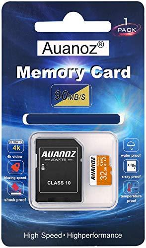 Auanoz TF-Speicherkarte 32GB, Klasse 10 Datenlesen übertreffen Speicherkarte für Telefon, Tablet und PC - mit Adapter.(Orange-32gb)