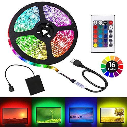 Upgraded Battery Powered Led Strip Lights, USB LED Strip Lights 5050 2M/6.6FT, Flexible Color Changing RGB LED Light Strip, 60 LEDs 5V Battery-Powered with IR Controller