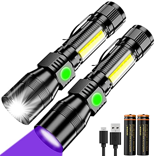 USB Rechargeable UV Flashlight,Zoomable Waterproof Tactical LED Torch,2 in 1 UV Black Light with 1000 Lumens&7 Modes for Camping Biking Hiking Outdoor Family Emergency
