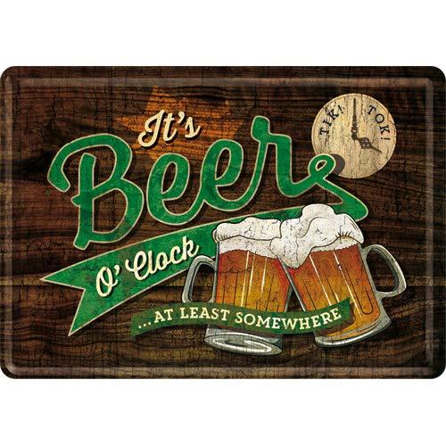 Nostalgic-Art - Biglietto di auguri retrò con scritta 'Beer O' Clock Glasses', idea regalo per gli...