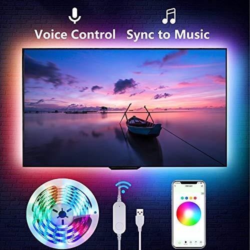 Retroiluminación LED para TV de 2,8 m, Smart WiFi, USB, tira LED con música, luces LED con aplicación, para pantalla de 40 a 60 pulgadas, para dormitorio, fiesta, compatible con Alexa Google Assistant