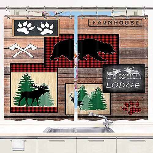 Bear Kitchen Curtain, Country Style Rustic Lodge Bear Moose Deer Farmhouse Curtains for Kitchen Window Curtains, Farmhouse Window Curtains for Bedroom, Metal Hooks Include, 55X39 in