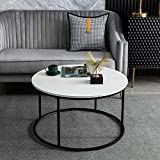 Round Coffee Table for Living Room, Modern Cocktail Table with Wooden Top & Metal Frame, Sturdy and Stylish, 31.5 Inch, White