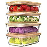 Urban Green Glass Containers with Bamboo Lids, Glass Storage Containers, Bamboo Glass Storage Containers with Lids, Bamboo Lid Glass Containers, Oven, Freezer, Microwave Safe, Pack of 4, 35oz