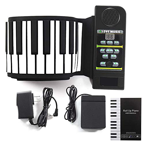 88キーポータブル電子手巻きピアノキーボード-LCD液晶ディスプレイMIDI出力
