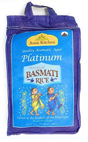 Asian Kitchen Platinum White Basmati Rice Extra Long Aged 20 Pound 20lbs 908kg ~ All Natural   Vegan   Gluten Free Ingredients   Indian Origin
