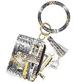 COOLANS Wristlet Bracelet Keychain Card Holder Card Pocket PU Leather Purse Tassel Keychain Bangle Key Ring for Women Girls (Card & Id Holder Purse 06 Snakeskin White)