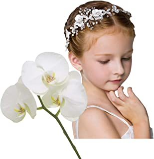 ZOCONE Cute Princess Wedding Headpiece Flower Headband for Girls Wedding Headdress Pearl Hair Band Bridesmaid Headdress Beading Sweet and Lovely for flower Girl