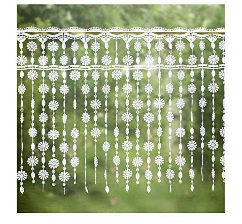 Plauener Spitze zarte Spitzengardine Blumen 44 x 80 cm - ideal für kleine Fenster