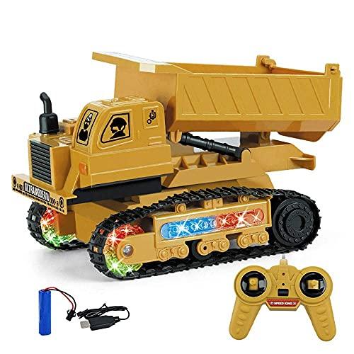 ZCYXQR Excavadora de Control Remoto RC, topadora, camión volquete, Tractor de construcción de Pala de Control Remoto de 4 Canales, vehículo de ingeniería Toy Wi