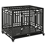 PawHut Heavy Duty Steel Dog Kennel with Caster Wheels and 1 Door for Convenient Access, Anti-Pinching Floor, Black