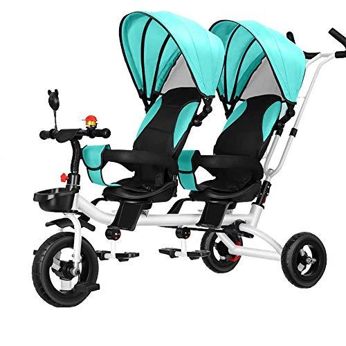 HKX Trike Twin Cochecito de bebé Triciclo Doble para niños Verano Ligero y Transpirable Cochecitos para niños pequeños Cochecitos Dobles para niños Desde el Nacimiento hasta los 4 años, B
