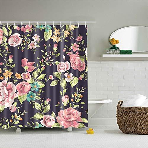 Duschvorhang-Set mit Haken, rosa Blumen und Blätter, Aquarell-Blumenmuster, Badezimmer-Dekoration, wasserdichtes Polyestergewebe, Badezimmerzubehör, 183 x 183 cm