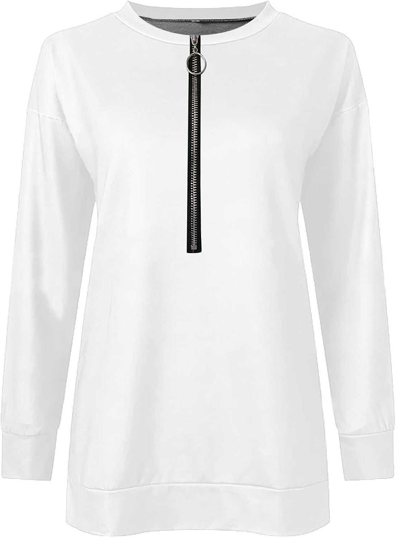 Women's Causal 1/4 Zip Pullover Long Sleeve Collar Sweatshirts Solid Activewear Running Jacket Tops