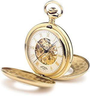 Rotary MP00713-01 Mens Mechanical Skeleton Gold Plated Pocket Watch with Chain