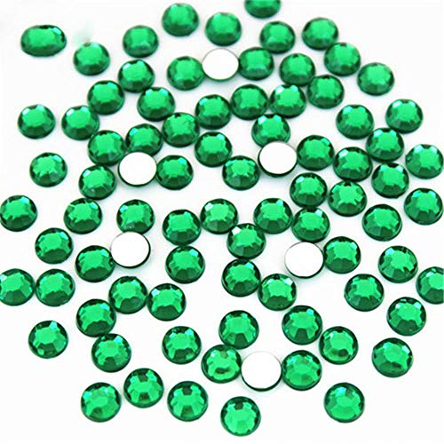 4mm, 6mm Crystal AB 3D Nail Art AB Strass BRICOLAGE Non Hotfix Rond Flatback Acrylique Pierres Pour Visage Décorations Vêtement WC258, Vert Foncé, 4mm 200pcs