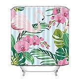 taquxinlaowan Pink Orchid Flamingo Tropical Leaf Pattern Cortina de Ducha Set Tela Impermeable