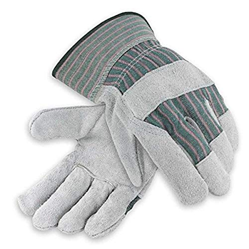 Galeton Heavy Shoulder Leather Palm Gloves Safety Cuff Green Stripe 12 Pack 2114, 2X-Large
