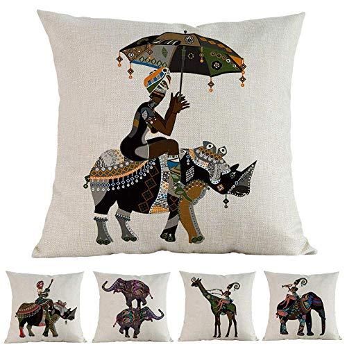 JKS & BDUE kussensloop 5-delige set kussenslopen linnen circus muziek leven traditioneel kostuum olifant kussensloop Home Decoration kussensloop 45X45cm