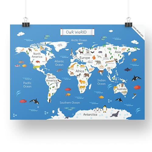 World Map for children  Classroom Home Wall room Décor 11.7 X 16.5 inches, ideal gift for children/ kids, from Ekdali.com. This poster features the world map with the most important monuments and animals particular to that region
