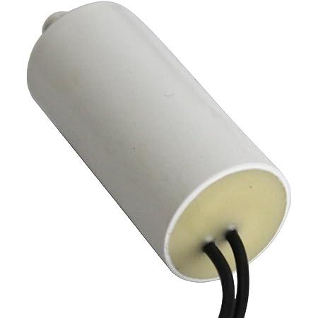 AERZETIX - Condensateur Permanent de Travail pour Moteur - 4µF 450V - ⌀25/53mm - à 2 fils - M8 - Corps en Plastique Cylindrique Blanc - C10206
