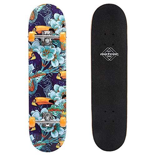 meteor Holz Skateboard Kinder - Mini Cruiser Kickboard - Skateboard mädchen Rollen Board - hohe Qualität Old School Skateboards Holz Deck - Retro Skateboard Jungen - Kinder Mini-Board (Jungle)