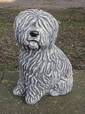 Steinfigur Hund Bobtail, Frostfest bis -30°C, massiver Steinguss