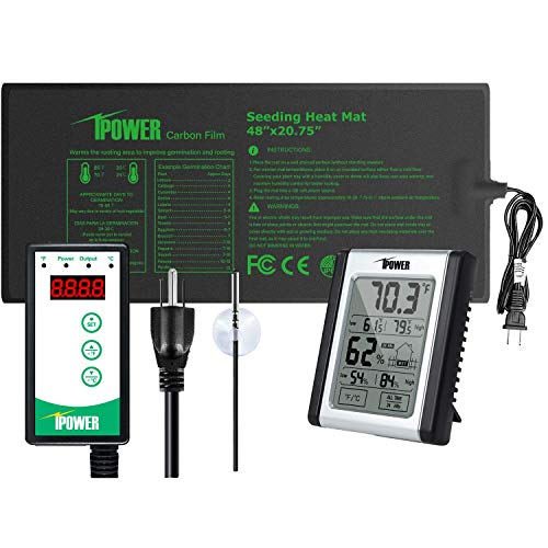 iPower GLHTMTCTRLV2HUDMPROL 48quot x 2075quot Upgraded Carbon Film Seedling Heat Mat Digital Thermostat Controller and Temperature Humidity Monitor Combo Set for Plant Germination