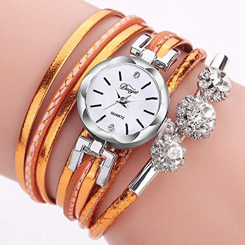 Reloj inteligente de pulsera para mujer, correa de cuarzo fina de aleación de diamante, color naranja