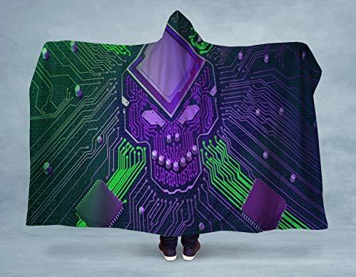 CICIDI Manta con capucha con diseño de calavera electro, manta de campamento,...