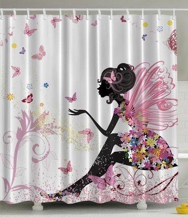 BBFhome ourlet lesté papillon rose fille avec une robe florale -Blumen Design Fée Ailes d'ange Fae Accueil Accent couleurs douces Conception et moderne féminin décor Dreamy Folklore rideau de douche en noir et blanc 120 x 180 cm
