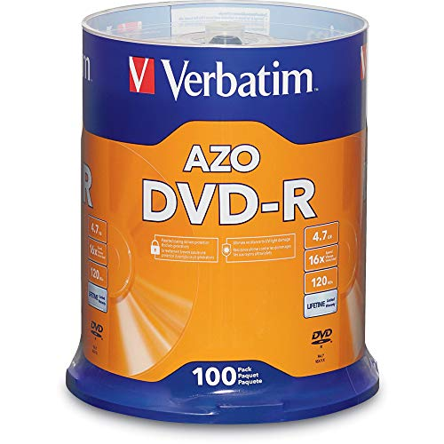Verbatim 95102 DVD-R 4.7GB 16x AZO Recordable Media Disc - 100 Disc Spindle, Silver