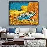 PLjVU Van Gogh descansando Carteles y Grabados de Pinturas al óleo sobre Lienzo de Trabajo-Sin marco30x40cm