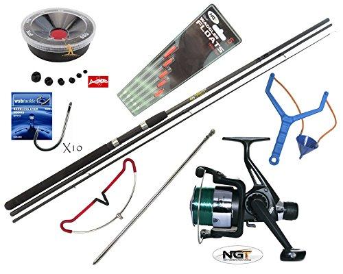 Hunter Pro 10 Carbon X Complete Beginners Starter Float Match Fishing Kit Rod NGT TZ40R Reel With Line Tackle Rod Rest Catapult Set