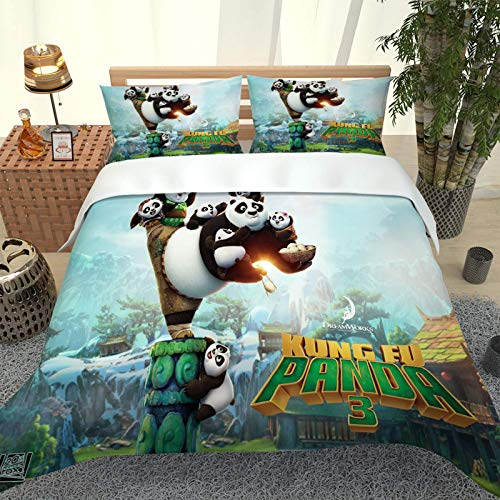 LCJYXNP Bedding Duvet Cover Sets King Size - 3 Pcs Ultra Soft Brushed Microfiber Hypoallergenic Cartoon Animal Panda Printed Quilt Covers 230X220CM With 2 Pillowcases 50X75CM, Zipper Closure