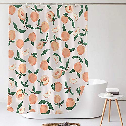Decorative Peach Cheetah Shower Curtain 72 x 72 Inch, Bathroom Decor Peach Colored Hanging Bath Curtain with Hooks, Waterproof Fabric, Machine Washable