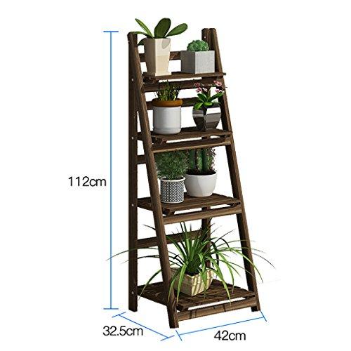 Porte-fleurs en bois/étagère intérieure et extérieure/plancher multi-plancher échelle/étagère pliante/étagère fleur Capacité d'appui élevée (taille : 112 * 32.5 * 42cm)
