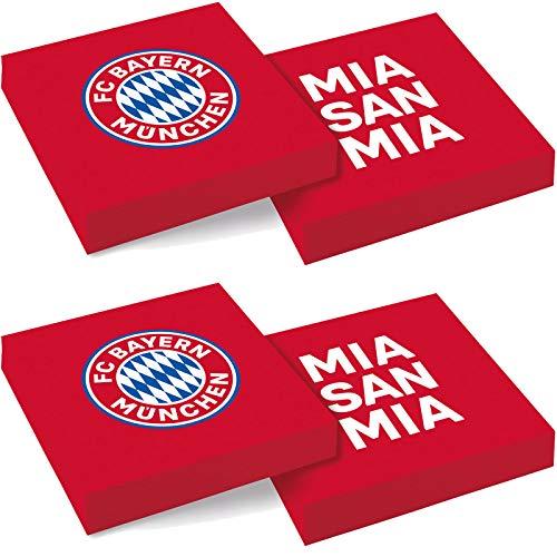 amscan 20 Servietten * FC Bayern MÜNCHEN * zur Fussball-Party und Geburtstag | Fan FCB Fußball Kindergeburtstag Napkins Papierservietten